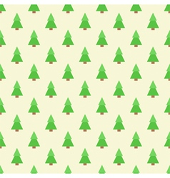 Flat design green christmas trees seamless pattern vector image