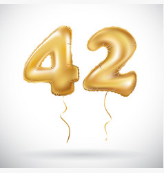 Golden 42 number forty-two metallic balloon party vector
