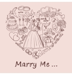 Heart drawn on sand with marry me text vector image