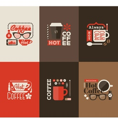 Hot coffee set of design elements vector