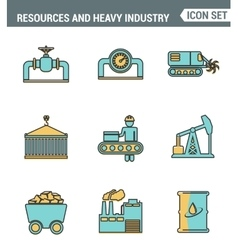 Icons line set premium quality of heavy industry vector