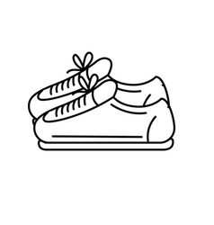 Line sneakers to practice exercise and train vector