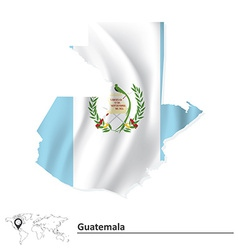 Map of Guatemala with flag vector image vector image