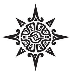 Mayan or incan symbol of a sun or star vector