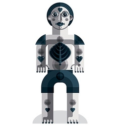 Meditation theme drawing of a creepy creatu vector