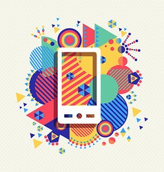 Mobile phone icon color vibrant shape background vector image vector image