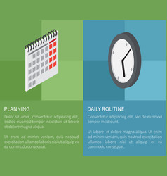 Planning daily routine template poster vector