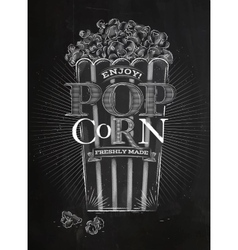 Poster popcorn chalk vector image vector image