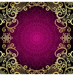Purple vintage frame with lace mandala vector