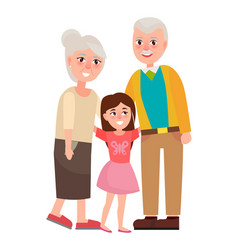 Senior grandparents with granddaughter isolated vector