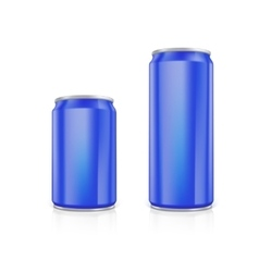 Set of blue blank aluminium cans vector image vector image