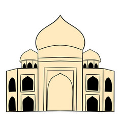 Taj mahal india icon cartoon vector