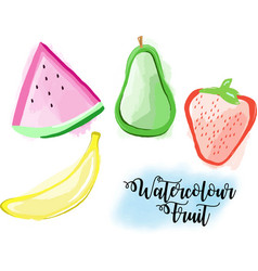 Watercolor fruit strawberry watermelon banana pear vector