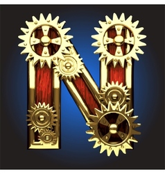 Wooden Figure with Gears vector image