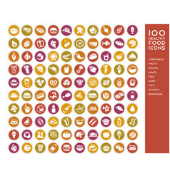 100 healthy food icons vector image vector image