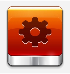 Red glossy settings button icon vector