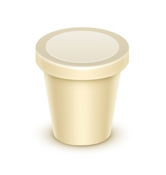 Blank tub for vanilla dessert yogurt sour cream vector