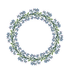 Summer wreath with forget-me-not flowers vector