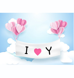 Heart shape balloons hanging with banner vector