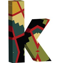 3d font letter k vector