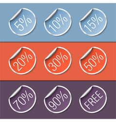 Stickers with discounts vector