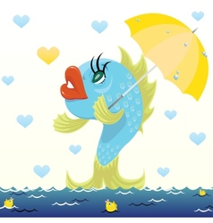 Cartoon fish with umbrella vector image