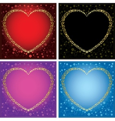 gold decorative cards with hearts - set of frames vector image