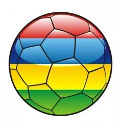 mauritius flag on soccer ball vector image