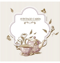 Invitation Vintage Card with Cup Pot and Flowers vector image