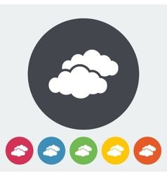 Overcast single flat icon vector