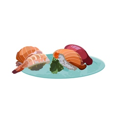 Sushi on the plate vector