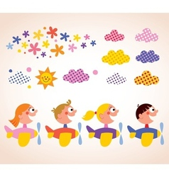 Kids in airplanes design elements set vector