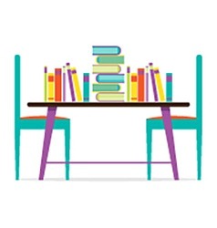 Colorful chairs and books on table vector