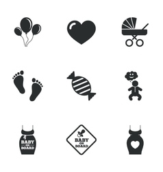 Pregnancy maternity and baby care icons vector