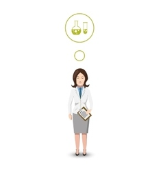 Flat character chemist with profession icon vector