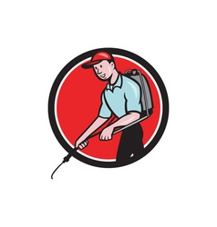 Pest control exterminator spraying circle cartoon vector