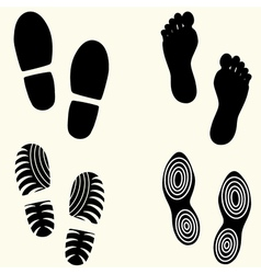 Feet prints set vector