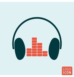 Headphones equalizer icon vector