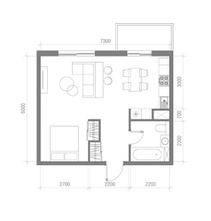 Architectural floor plan with dimensions studio vector