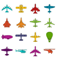 aviation icons doodle set vector image