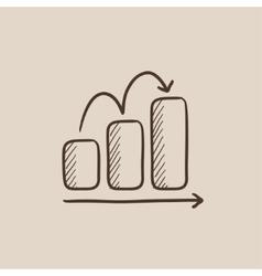 Bar chart upward sketch icon vector image vector image