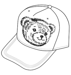 Bear smiling snout logo on the cap vector