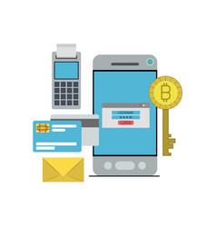 Bitcoin digital currency key login in payment from vector