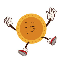 Cartoon golden coin character funny happy vector