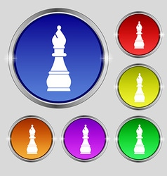 Chess bishop icon sign round symbol on bright vector