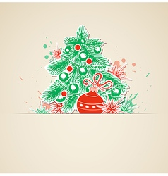 Christmas background with paper fir vector image vector image