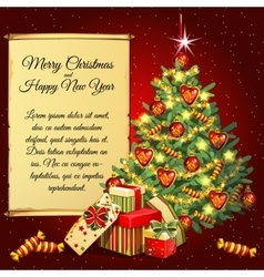 Christmas tree and gifts and scroll for your text vector