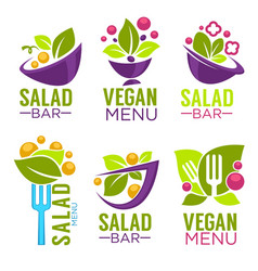 Collection of healthy cooking logo and organic vector