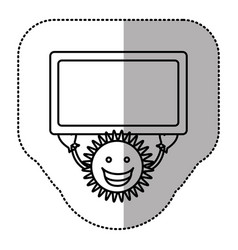 contour sticker happy sun with blue board in the vector image