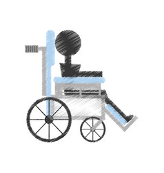 Drawing patient wheelchair medical equipment vector